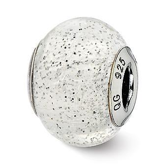 925 Sterling Silver finish italienska Murano Glas Reflektioner italienska Silver med Silver Glitter Glas Pärla Charm Hänge