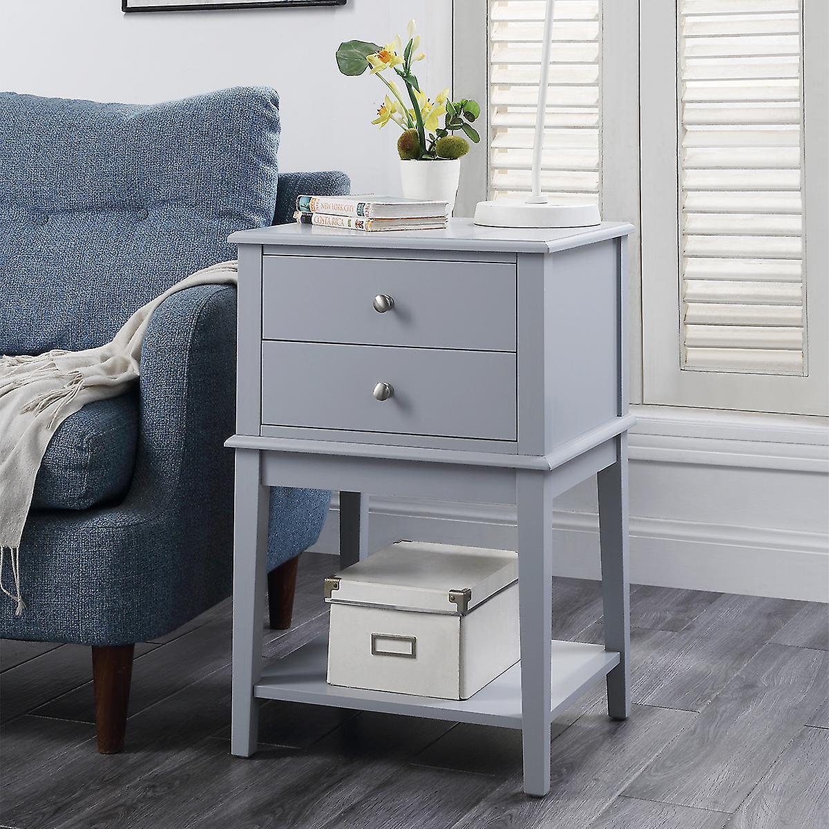 Charles Bentley 2 Drawer Wooden Bed Side Coffee/Lamp Table/Storage/Cabinet Grey
