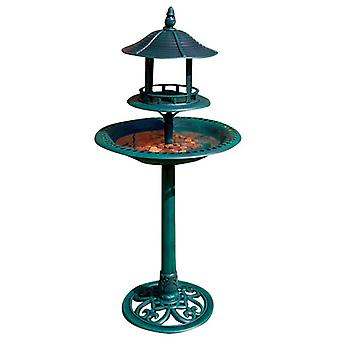 Kingfisher Large Ornamental Free Standing Garden Bird Bath & Sheltered Table