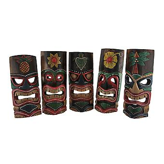 Set of 5 Polynesian Style Wooden Tiki Masks 10 Inch