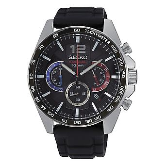 Seiko Uhren Ssb347p1 Silber & Schwarz Silikon Chronograph Herren's Uhr