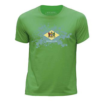 STUFF4 Boy's Round Neck T-Shirt/USA State/Delaware Flag Splat/Green