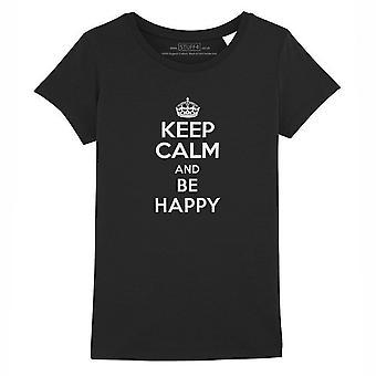 STUFF4 Girl's Round Neck T-Shirt/Keep Calm Be Happy/Black
