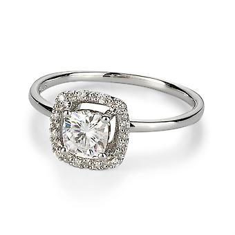 14k White Gold Forever One 5,0mm Kussen Halo Engagement Ring-size 7, 0,66cttw DEW (D-E-F)