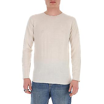 Laneus S22cc9latte Men's White Cotton Sweater