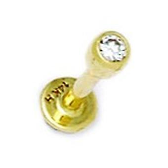 14k žlté zlato CZ kubický zirkónia simulované Diamond 14 meradlo loptu v tvare tela Piercing šperky Labret Stud šperky Darčeky
