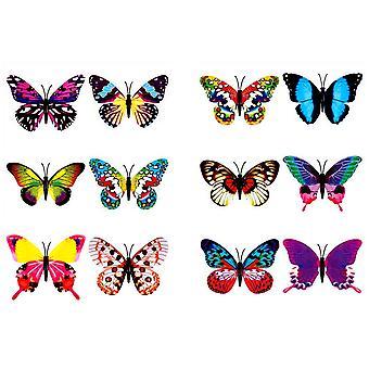 Papillons tatouages temporaires Tatouages 24pcs