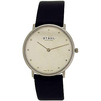 Stahl Gents Silvertone Dial Stainless Steel Black Leather Strap Watch ST62341