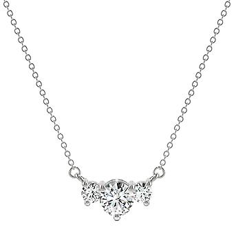 14K White Gold Moissanite by Charles & Colvard 6mm Round Three Stone Necklace, 1.12cttw DEW