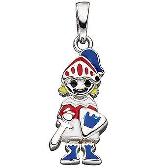 الاطفال قلادة فارس 925 الفضة مع ورنيش إدراج أحمر / أزرق قلادة الأطفال
