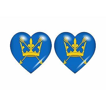 2x ملصقا ملصقا علم قلب المملكة المتحدة سوفولك