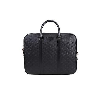 Gucci 435322cwcbn1000 Men's Black Leather Briefcase