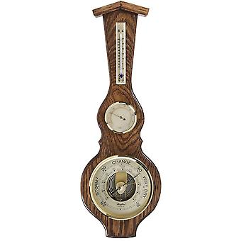 Woodford Solid Oak Barometer and Thermometer - Brown/Bronze