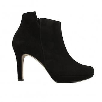 Paul Green 9682-00 Black Suede Leather Womens Stiletto Heel Ankle Boots