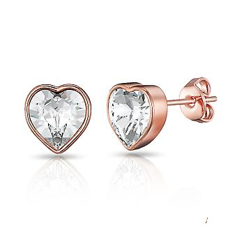 Rose gold bezel set heart earrings created with swarovski® crystals
