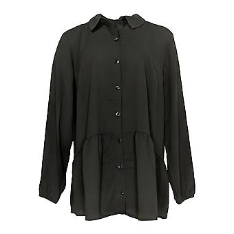 H by Halston Women's Top Jersey Button Front Tunic Black A366428