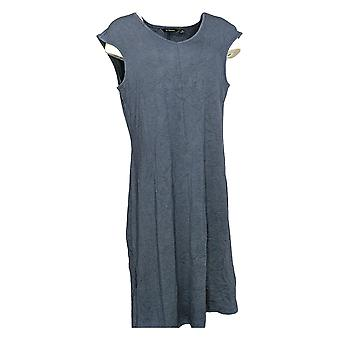H by Halston Dress Knit Midi w/ Asymmetric Hem Blue A278026