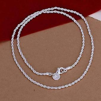 2.5Mm diamond cut silver rope chain 16-24 inches everyday wear for woman or man
