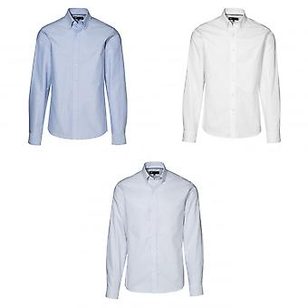 ID Mens Fitted Long Sleeve Button Up Oxford Shirt