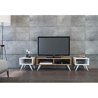 Mobile Porta TV Vinca Color Bianco, Rovere in Truciolare Melaminico, PVC 90x35x32,6 cm, 35x35x32,6 cm