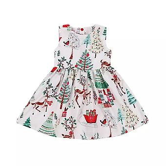 Girls Christmas Button Geometry Dress, Infant