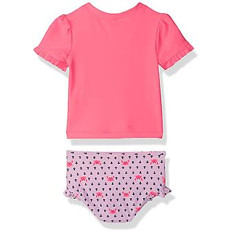 Simple Joys by Carter's Baby Girls' 2-Piece Rashguard Set, Pink/Navy Stripe, ...