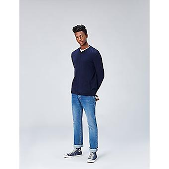 find. Men's Cotton Cardigan Sweater in Bomber Jacket Style, Blue (Navy), Large