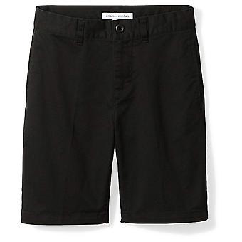 Essentials Little Boys' Flat Front Uniform Chino Short, Sort,6