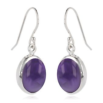 ADEN 925 Sterling Silver Amethyst Oval Shape Earrings (id 3877)