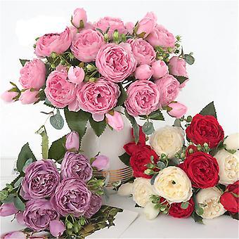 1 Bouquet 9 Heads Artificial Peony Tea Rose Flowers Camellia Silk - Fake Flower Flores for DIY Home Garden Wedding Decoration