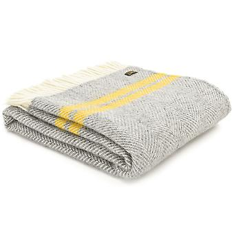 Tweedmill Pure New Wool Knee Lap Blanket, Fishbone 2 Stripe Grey & Yellow