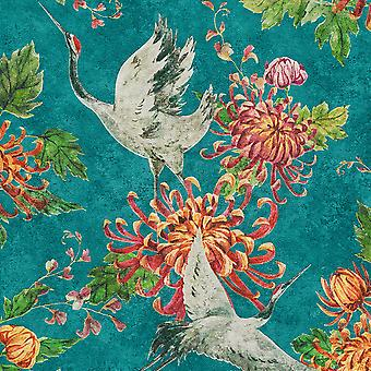 Aziatische Fusion Kranen Wallpaper Teal AS Creation 37464-1