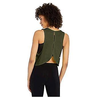 Core 10 Women's Plus Size Jacquard Mesh Workout Cropped Tank, Olive, 3X (22W-...