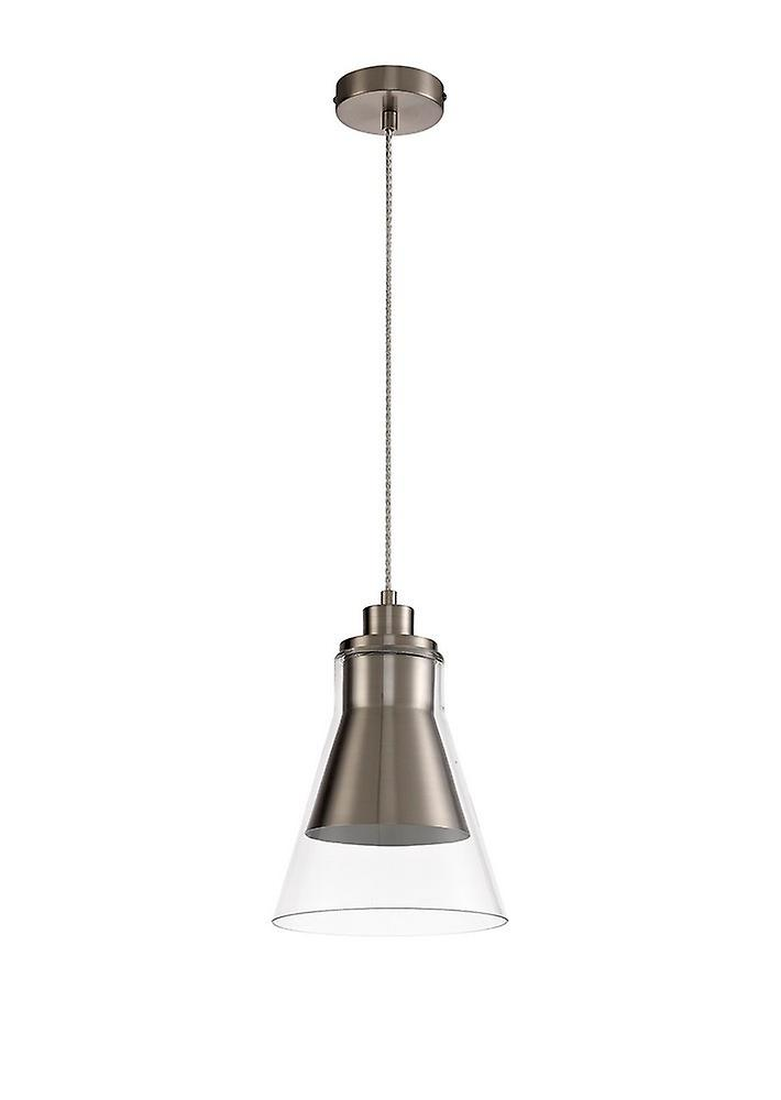Ceiling Dome Pendant, 1 x E27, Satin Nickel, Clear Glass