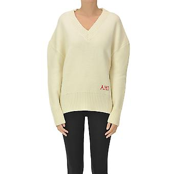 Ami Paris Ezgl510003 Women's Bege Wool Sweater