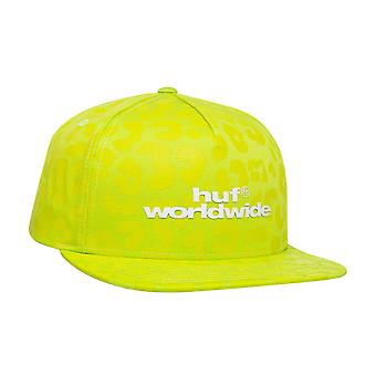 Huf Street Cat Snapback Cap - Hot Lime