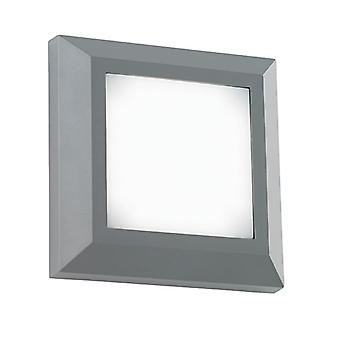 Saxby Lighting Severus - Outdoor Integrated LED Square Direct IP65 3W Grey Abs Plastic & Frosted