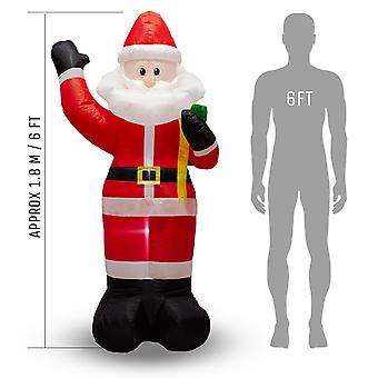 Inflatable large waving santa with led lights - 1.8m (6ft) - outdoor and indoor use