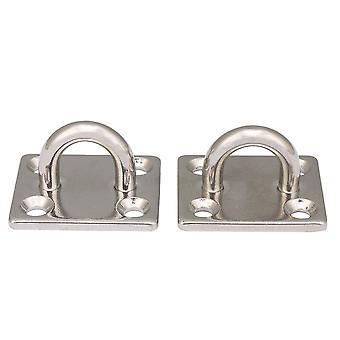 2x Ceiling Wall Mount Hook Anchor M5 Square Pad Eye Plate 35x30mm Silver