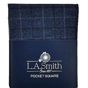 Solmiot Planet Navy Sininen, Vaaleansininen & Oranssi Tarkistettu Kuviollinen Tweed Pocket Square Nenäliina