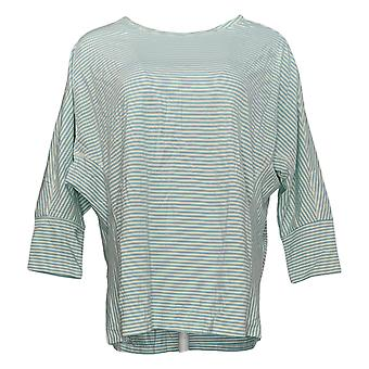 Anybody Women's Top Cozy Knit Striped 3/4 Sleeve Blue A302404