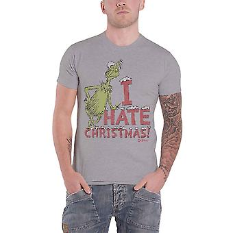 The Grinch T Shirt I Hate Xmas Movie Logo new Official Mens Grey