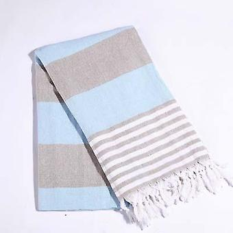 Striped Cotton Turkish Sports Bath Towel With Tassels - Travel, Gym, Camping,