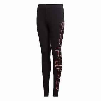 adidas Logo Youth Girls Kids Sports Legging Tight Pant Black/Black/Pink