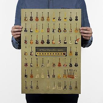 Gitarre Geschichte nostalgische Vintage Kraft Papier Film Poster Home / Cafe Bar Dekor