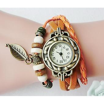 Multicolor Women Genuine Leather Vintage Quartz Dress Watch Bracelet