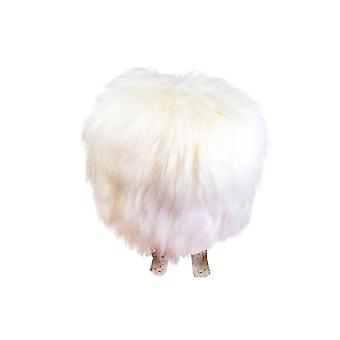 Birch Wood And Ivory Sheepskin Ottoman