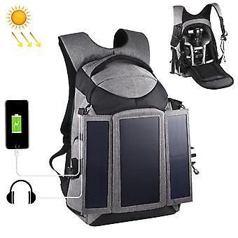PULUZ 3-fold 14W solárnej energie vonkajšie prenosné dvojité ramená batoh taška s USB Port & Otvor pre slúchadlá (sivý)
