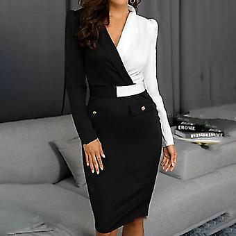 Suit Women Blazer Dress, Long Sleeve, Buttons V-neck, Patchwork, Bodycon Work