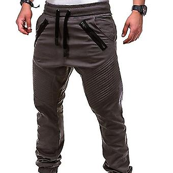 Men Casual Zipper Pocket Sweatpants Trousers Solid Sportwear Pant